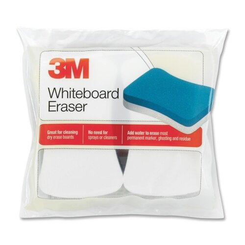 "3M Whiteboard Eraser Pads, 5""x3"", 2 per Pack, White/Yellow"
