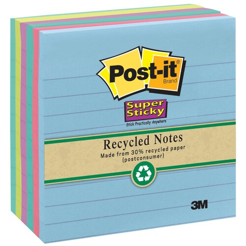 3M Assorted Neon Lined Post-it Super Sticky Recycled Note