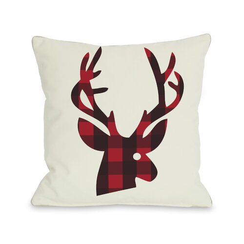OneBellaCasa.com Holiday Plaid Reindeer Reversible Pillow