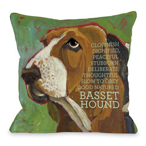 Doggy Décor Bassett Hound 2 Throw Pillow