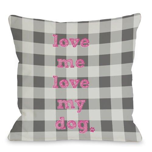 Doggy Décor Love Me Love My Dog Plaid Pillow