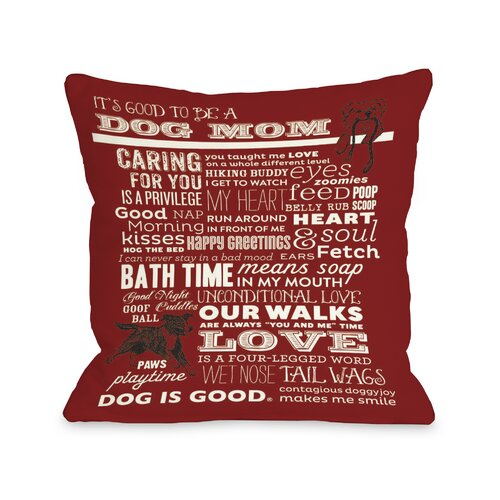 Doggy Décor Proud to be a Dog Mom Throw Pillow