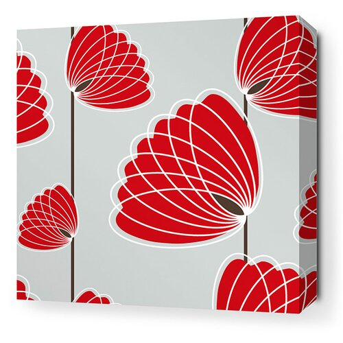 Inhabit Aequorea Lotus Graphic Art on Canvas in Silver and Scarlet