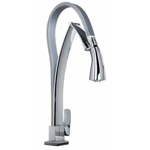 Jewel Faucets J25 Kitchen Series Single Hole Kitchen Faucet with Dual Function Pull Out Spout