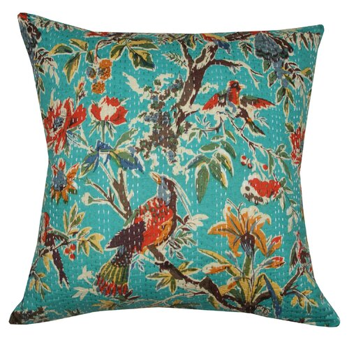 Divine Designs Birdie Kantha Cotton Pillow