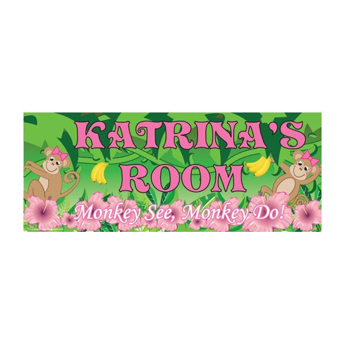 Monkey Girl Name Wall Plaque