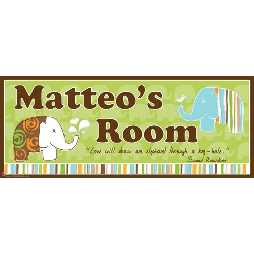 Elephant Boy Name Wall Plaque