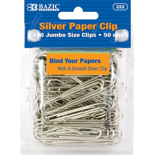 Bazic Jumbo (50mm) Silver Paper Clip Set