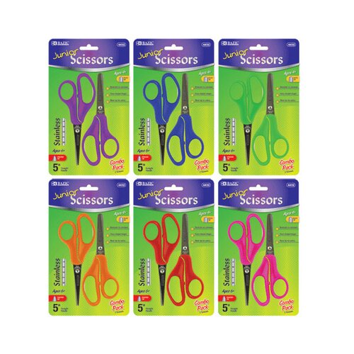 """Bazic 5"""" Blunt And Pointed Tip School Scissors"""