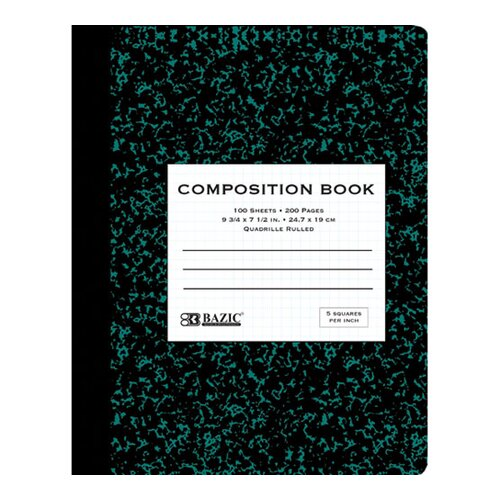 Bazic Quad-Ruled Marble Composition Book