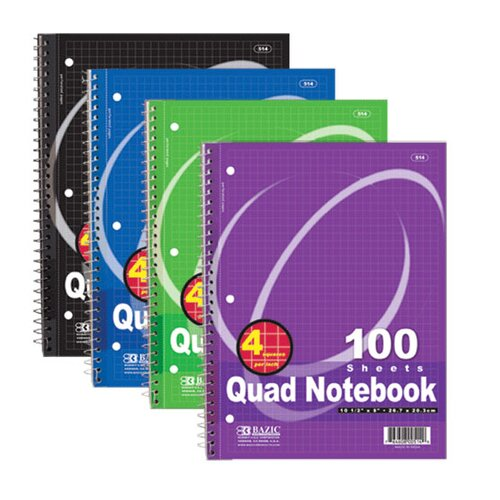 Bazic Quad-Ruled Spiral Notebook