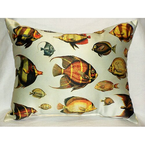 Betsy Drake Interiors Multi - Fish Print Pillow
