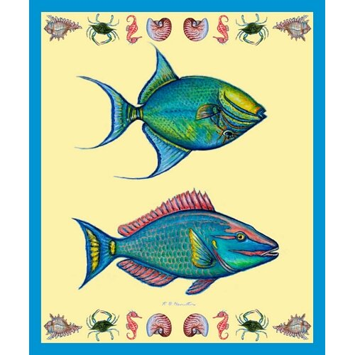 Parrot and Trigger Fish Polyester Throw