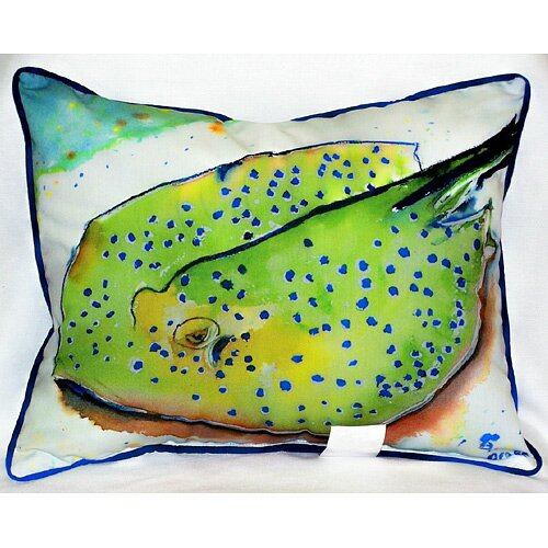 Betsy Drake Interiors Coastal Stingray Indoor / Outdoor Pillow