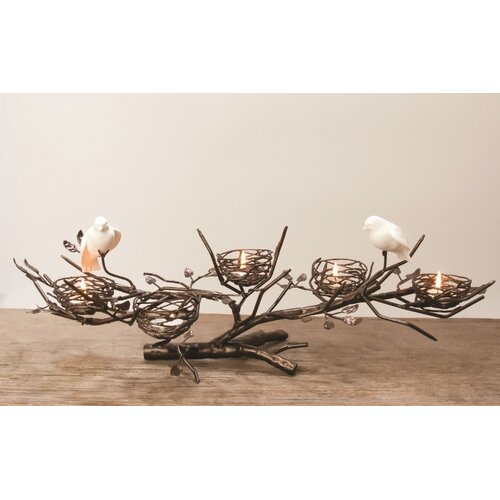 Dekorasyon Gifts & Decor 5-Nest Centerpiece with Fine Bone China Birds