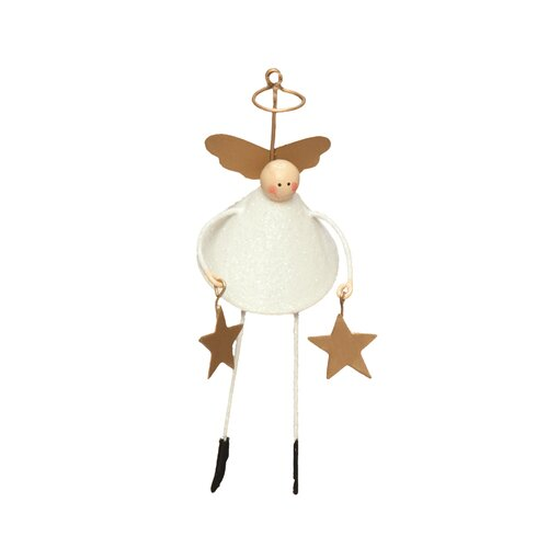 Glittered Bell Angel with Star Ornament (Set of 2)