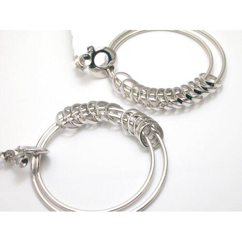 JRJ Creations Modern Silver Designs Dangling Rings Earrings