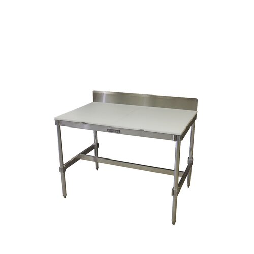 PVIFS Aluminum I Frame Utility Table with Back Splash and Poly Top