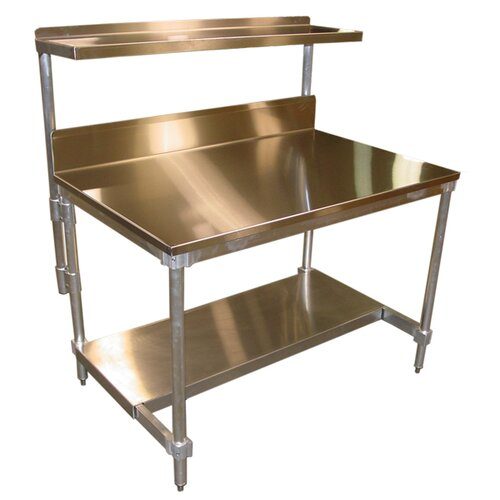 """PVIFS 34"""" Aluminum I Frame Work Table with Back Splash and Stainless Steel Top"""