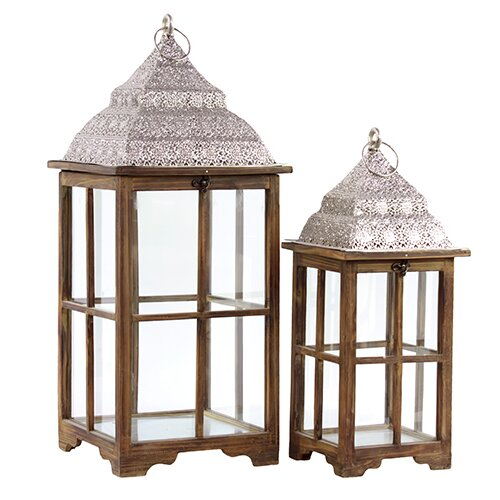 Urban Trends 2 Piece Wooden Lanterns Set