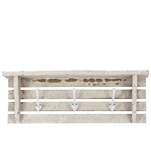 Wood Wall Shelf With Paneled Wood Strips Backing And 3
