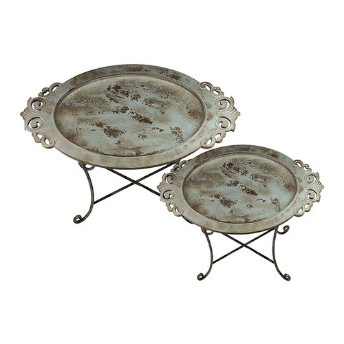 Urban Trends Metal Tray on Stand- Two Piece Set