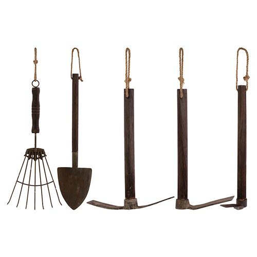 Wooden Garden Tools Set of Five (Set of 5)