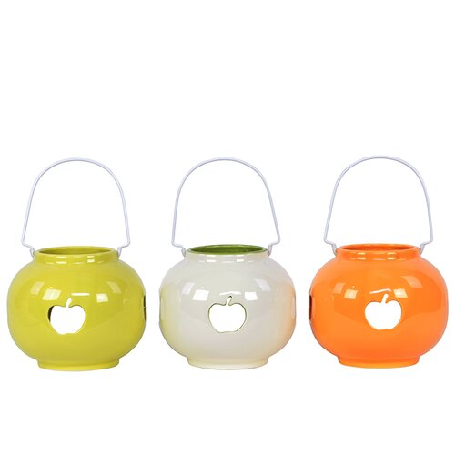 Urban Trends Ceramic Lantern with Apple Cut-Out Set of Three