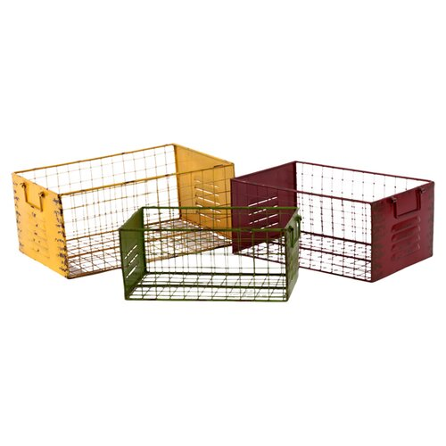Urban Trends Metal Storage Basket Set of Three Assorted Color