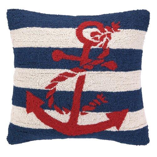 Nautical Hook Anchor Stripe Pillow