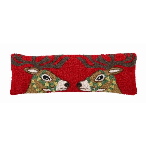 Two Facing Reindeers Hook Decorative Wool / Cotton Pillow