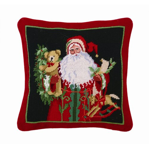 Holly and Ivy Santa Decorative Wool / Cotton Pillow