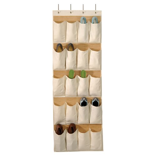 Bamboo and Natural Canvas Storage 20 Pocket Over the Door Shoe Organizer