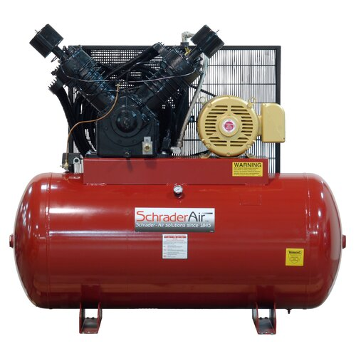 Schrader International 120 Gallon Professional Series 2 Stage 25 HP Horizontal Air Compressor with After Cooler