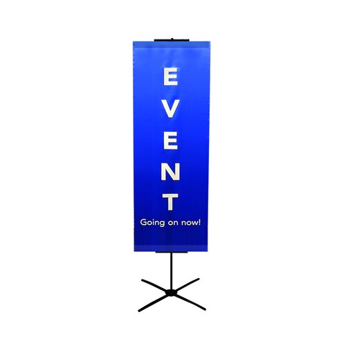 "Pinquist Tool & Die 48"" - 90"" Vertical Adjustable Travel Banner Stand"