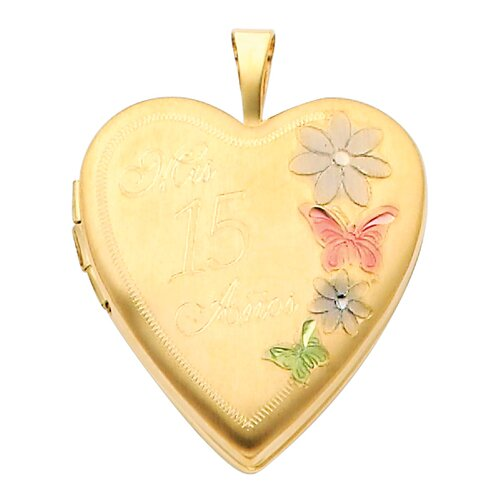 Precious Stars 14k Solid Yellow Gold Engraved '15 Anos' with Flowers Fully Open Close Function Heart Locket Pendant