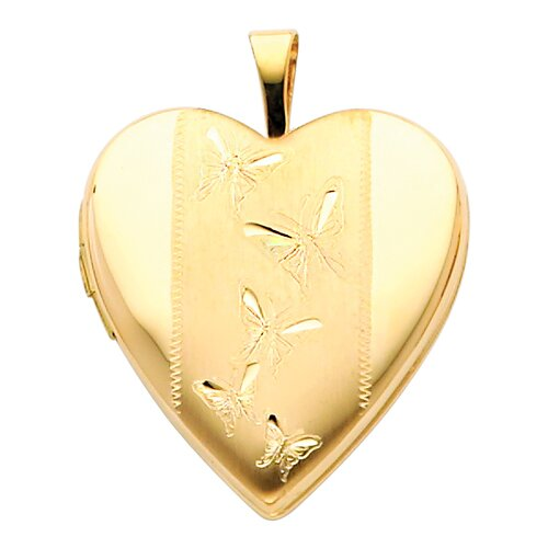 Precious Stars 14k Solid Yellow Gold Butterflies Engraved Fully Open Close Function Heart Locket Pendant