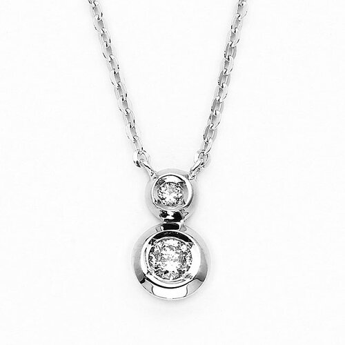 Precious Stars 14k White Gold Bezel-set Diamond Necklace