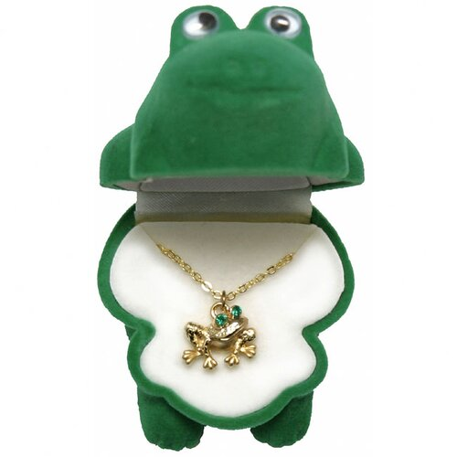 Precious Stars Goldtone and Enamel Animal Frog Necklace