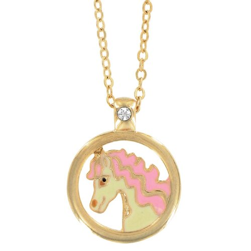 Precious Stars Goldtone and Enamel Animal European Crystal Horse Necklace