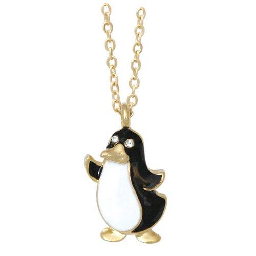 Goldtone and Enamel Animal Penguin Necklace