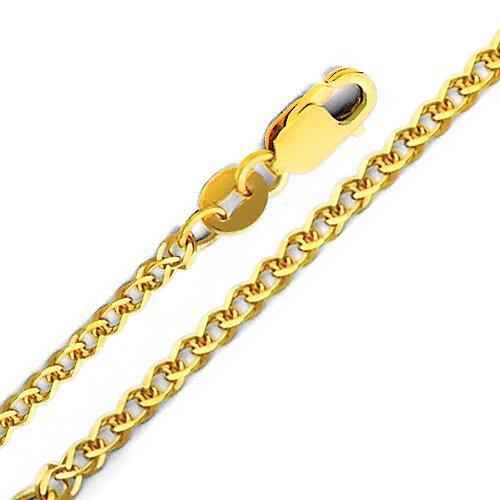 14kt Yellow Gold 1.7mm Flat Wheat Chain