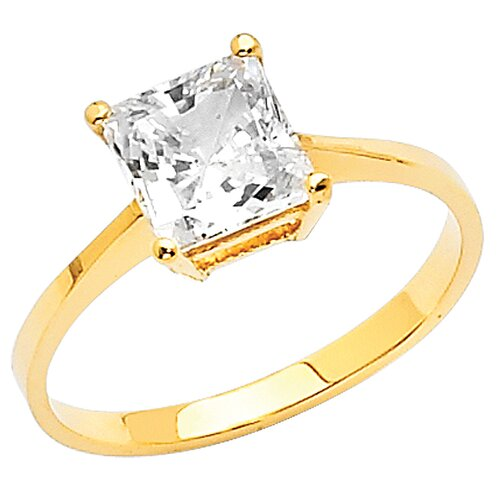 14K Gold Princess Cubic Zirconia Solitaire Ring