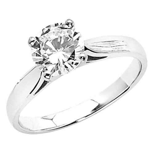 Precious Stars 14K Gold Round Cubic Zirconia Smooth Solitaire Ring