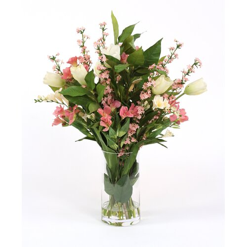 Distinctive Designs Silk Garden Mix in Glass Cylinder Vase