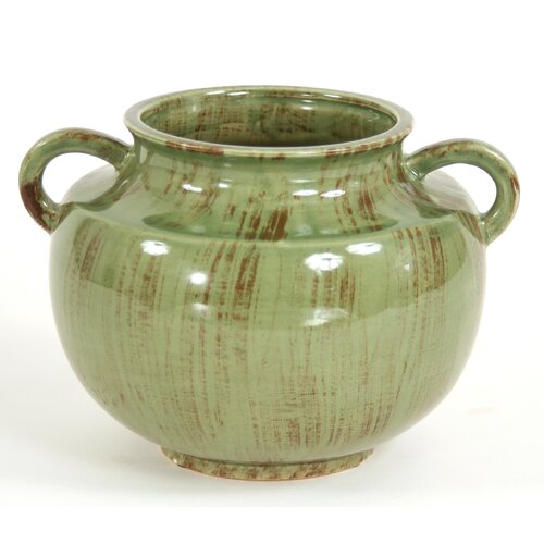 Distinctive Designs Decor Accessories Fire Glazed Jar Vase with Handles