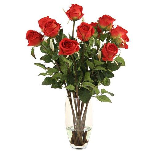 Distinctive Designs Silk Roses in Glass Vase