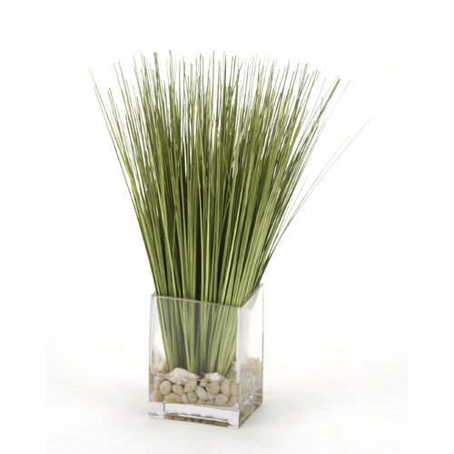 Distinctive Designs Waterlook Faux Basil Grass in Rectangular Artificial Decorative Vase