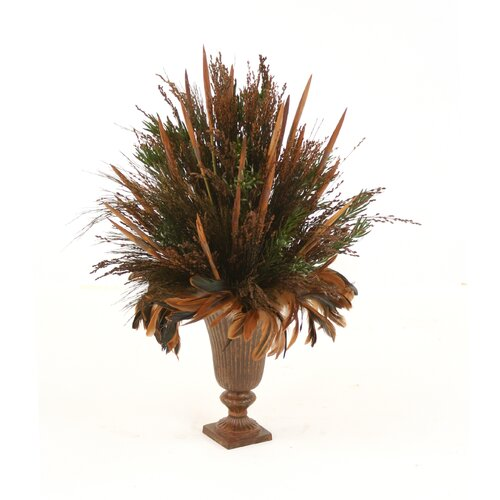 Distinctive Designs Dried Greenery Preserved Grass in Round Urn