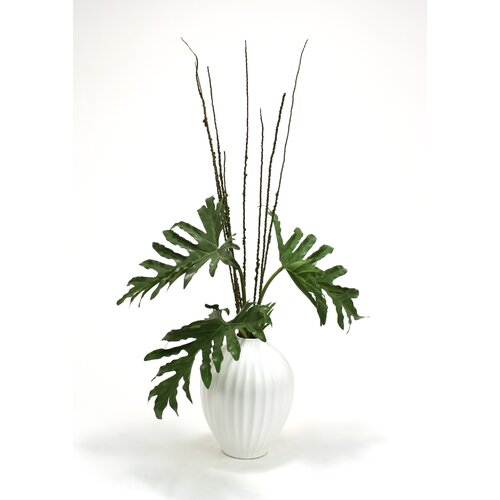 Distinctive Designs Silk Selloum Philodendron Mix Floor Plant in Decorative Vase